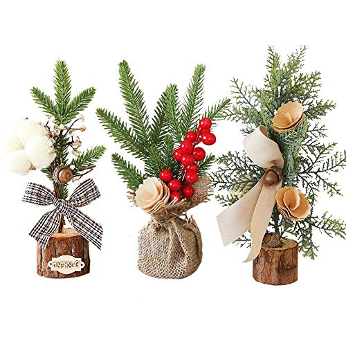 Pre-lit Artificial Mini Christmas Tree Mini Vivid Miniature Model Tree for Christmas, Table, Window Decoration, Perfect Complement to Any Existing Christmas Theme,10' 3.94'