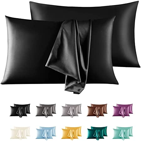 """Satin Pillowcase,2 Pack Silky Pillow Cases for Hair and Skin,Soft Breathable Smooth Silk Pillow Cover with Envelope Closure (Black, Standard(20""""x26""""))"""
