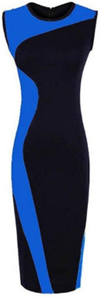 Wofine Women Sleeveless O-Neck Stretchy Bodycom Party Slim Dress