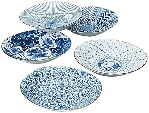 Saikai Pottery Traditional Japanese Ai-e (Ukiyo-e) Indigo Patterns Porcelain Plates (5 Plates Set) 31302 from Japan