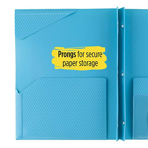 """Five Star 2-Pocket Folder, Stay-Put Folder, Plastic Colored Folders with Pockets & Prong Fasteners for 3-Ring Binders, For Home School Supplies & Home Office, 11"""" x 8-1/2"""", Teal (72107) Photo #6"""