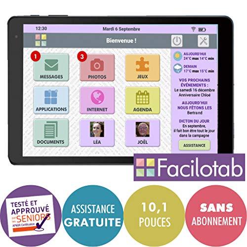 pas cher un bon FACILOTAB Tablet L – WLAN – 16 Go – Android 8 – Marque ALCATEL – Interface utilisateur simplifiée pour les personnes âgées