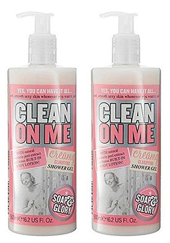 Soap & Glory, confezione doppia di gel doccia Clean on Me Creamy Clarifying shower gel, 500ml (etichetta in lingua italiana non garantita)