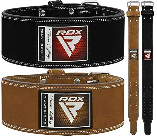 RDX Sollevamento Pesi Cintura Palestra per Powerlifting | Approvato da IPL e USPA | Doppia Polo 4  Pelle Cintura per Bodybuilding, Allenamento della Forza, Fitness, Muscoli, Deadlift Workout & Squat