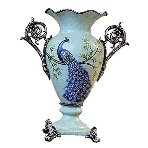 TAIDENG Jarrones de flor decoraciones para el hogar resina de estilo europeo jarrones de flores grandes para salón comedor mesa mesa de centro de mesa de mesa de oficina decoración del hogar pintado a