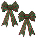 Happy Holidays 12.5 inch Christmas Decoration Bow - Red and Green Striped Shimmer - Great for Indoor, Outdoor, Tree, Decor, Crafts, Wrapping, Wreath (Large Set of 2)