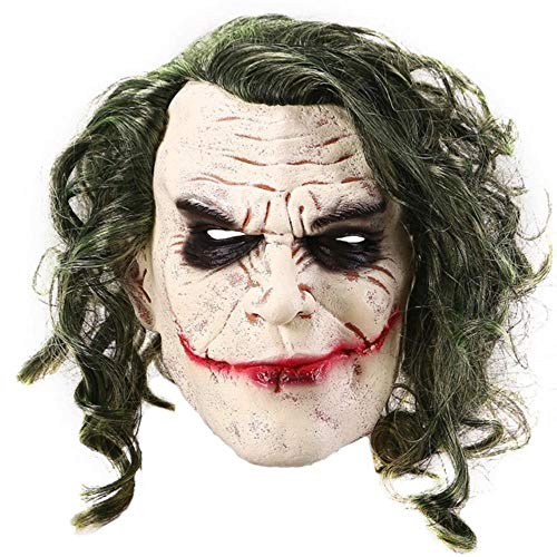 SHOUSBOXHI Joker Masker Film De Donkere Ridder Cosplay Horror Enge Clown Masker met Groen Haar Pruik Halloween Latex Masker Party Kostuum, 30x20cm