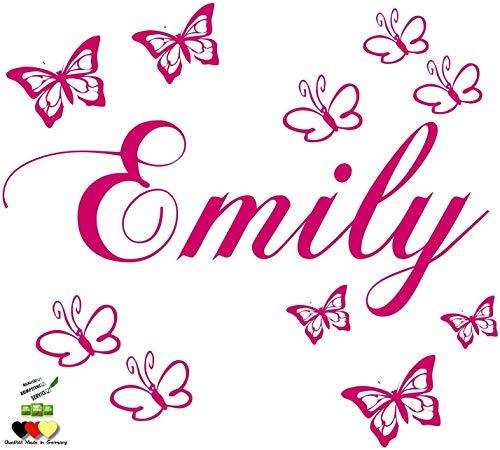 Wandschnörkel ® Wandtattoo Wandaufkleber mit dem Namen ihres Kindes personalisiert Wunschnamen + 10 Schmetterlingen 60 & 120 Spruch Kinderzimmer Mädchen Junge viele Farben