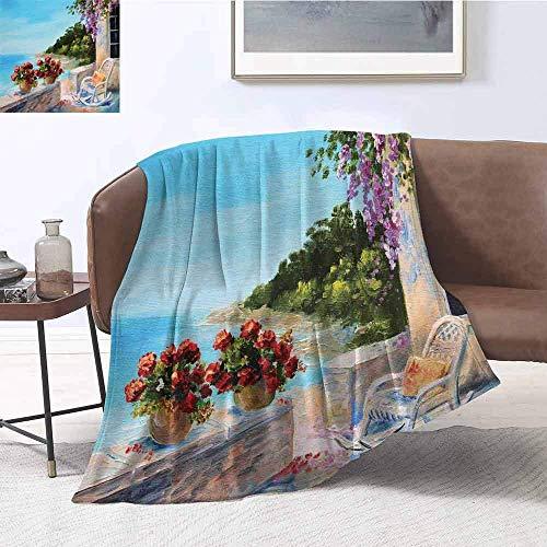 Nazi Mie Seascape Blanket Balcón con Vistas al mar y acogedora Mecedora Flores en el Cielo de...