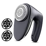 POPCHOSE Fabric Shaver, Rechargeable Lint Remover with 6-Blades and Electrostatic Brush, Effectively and Quickly Remove Fuzz for Clothes, Sweater, Couch, Blanket, Curtain, Socks, Wool, Cashmere