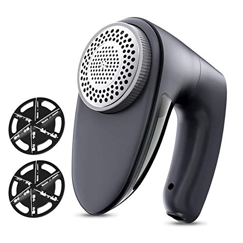 POPCHOSE Fabric Shaver, Rechargeable Lint Remover with 6-Blades and Electrostatic Brush, Effectively and Quickly Remove Fuzz for Clothes, Sweater, Couch, Blanket, Curtain, Wool, Cashmere