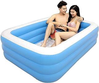 BHB-AY Familiar Piscina Hinchable Rectangular - 196 X 143 X 60 Cm, Azul, Capacidad De Agua 1000 L