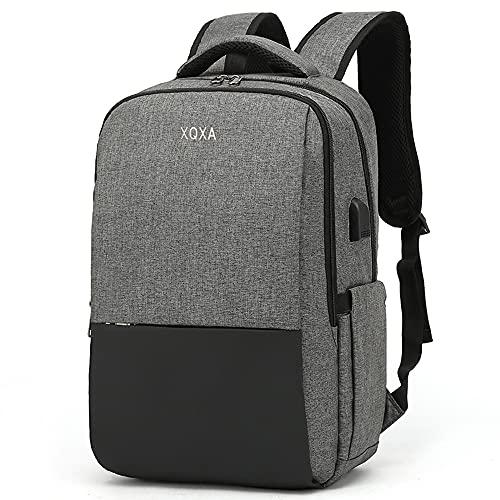 XQXA Zaino per laptop, zaino per laptop da 15,6 pollici, zaino da uomo con caricatore USB, zaino da lavoro da uomo per gite scolastiche, grigio