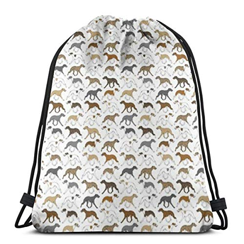 "Yuanmeiju Trotting Whippet 3D Print Drawstring Backpack Rucksack Shoulder Bags Bolsa de Gimnasio For Adult 17""X14"""