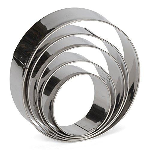 patisse 02008 Set Emporte-pièces Cercle 5 pièces, Acier Inoxydable, Argent, 10.0 x 10.0 x 10.0 cm, 5 unités
