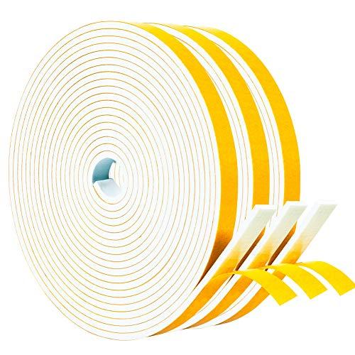 Yotache White Doors Windows Weather Stripping 3 Rolls 3/8 Inch Wide X 1/8 Inch Thick, Foam Insulation Sealing Gasket Tape for Doors, Sliding Door, Total 50 Feet Long (3 X 16.5 Ft Each)