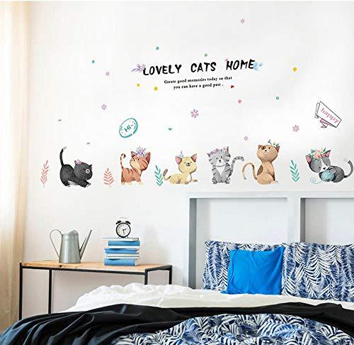 Behang Muurschilderingen Cartoon Kat Nachtkastje Koelkast Deur Kinderkamer Kleuterschool Indeling Decoratie Stickers