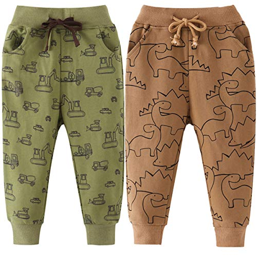 FAIRYRAIN 2er Pack Kinder Junge Sweathose Kids Karikatur Drucken Sporthose Jogger Pants Hose Babyhose 92 (Herstellergröße: 4T)