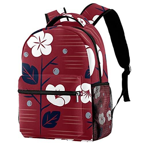 Mochila infantil para niños y niñas para la escuela, mochilas lindas para escuela primaria o jardín de infancia, diseño único, mochila escolar de 16 pulgadas, diseño floral rojo japonés