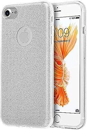 Funda Case para iPhone 8 / iPhone 7 Brilloso Doble Protector de Plastico Brilloso tipo Glitter, color Silver