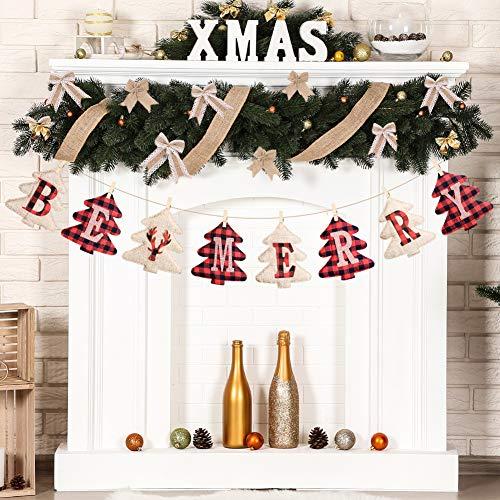 Christmas Decorations Clearance, Burlap Banners, Christmas Tree Ornaments, Burlap Tree Shaped Letras Para Decoracion Banner, Vintage Xmas Decorations Indoor, Christmas Party Decorations for Fire Place