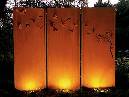 Gartenwand Sichtschutz Triptychon Schwarm neu rost Stahl 225x195 cm