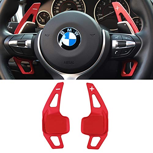 for BMW Paddle Shifter Extensions,Jaronx Aluminum Metal Steering Wheel Paddle Shifter(Fits: BMW 2 3 4 X1 X2 X3 X4 X5 X6 Series,F22 F23 F30 F31 F33 F34 F15 F16 F25 F26) -NOT for 5 6 Series F10 F11-Red