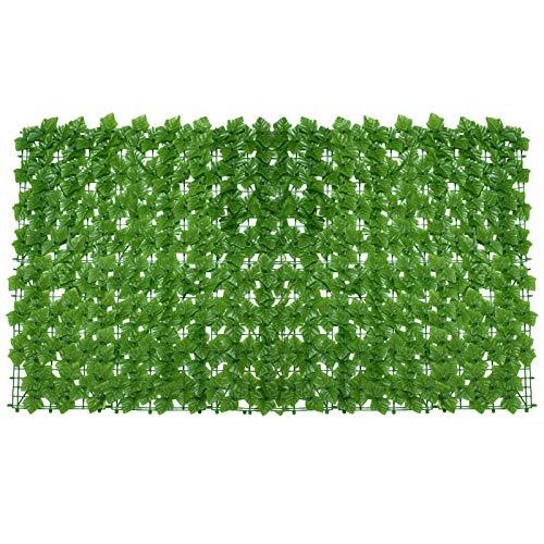 Phrat Balkon-Sichtschutzhecke, Sichtschutz Balkon Efeu Blätter, künstliche Hecke, Kunststoff, 300 x 100 cm