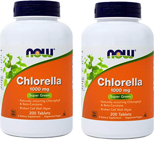 Now Chlorella Tablets 1000mg, 200 Tabs (Pack of 2) Non-GMO Microalgae - Green Superfood Supplement