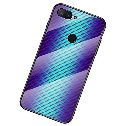 SHUNDA Capa para Xiaomi Mi 8 Lite, Capa de vidro gradiente resistente a arranhões Capa protetora traseira de vidro temperado para Xiaomi Mi 8 Lite - Azul