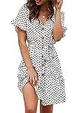 Sommerkleid Damen Kurzarm Elegant V-Ausschnitt Knopfleiste Polka Dot Kurze Strand Freizeitkleider mi Gürtel (1-Dot-Weiß, Medium)