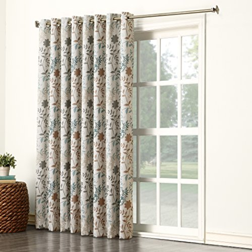 Sun Zero Kara Floral Print Energy Efficient Grommet Patio Door Curtain Panel, 100