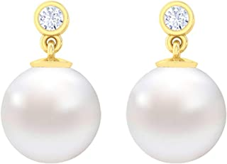Clara 92.5 Sterling Silver Gold Plated Pearl Earrings Gift for Women and Girls