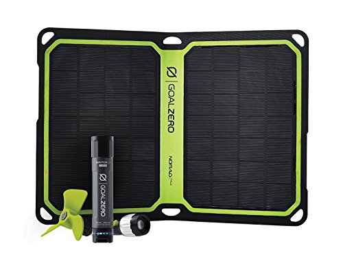 Goal Zero Switch 10 Core Recharger with Nomad 7 Plus Solar Kit, 2600mAh Power Bank with Flashlight Tip and Fan Tool