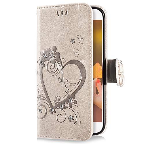 Uposao Kompatibel mit Samsung Galaxy S6 Handyhülle Schmetterling Liebe Blumen Muster Diamant Bling Glitzer Strass Schutzhülle Flip Case Handytasche Wallet Hülle Bookstyle Klapphülle,Gold
