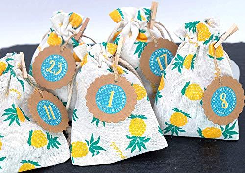 Adventskalender stof slinger zakje 10x13,5 cm beige ANANAS Tropical sticker hanger haakjes koord zomer kalender
