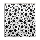 MyDaily Duschvorhang mit Punkten, 182,9 x 182,9 cm, schimmelresistent, wasserfest, Polyester, Dekoration für das Badezimmer, Schwarz/Weiß