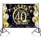 Decoración de Fiesta de Cumpleaños 40 Feliz Cumpleaños Fondo Banner Cartel de Tela Grande Lavable Brillante Negra y Dorada Artículos de Fiestas de Cumpleaños para Interior al Aire Libre