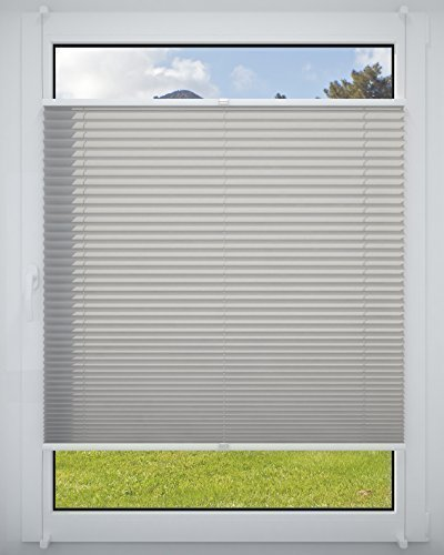 Dekohaken24 PLISSEE Grau, verspannt, Breite 80x130cm (max. Gesamthöhe Fensterflügel), mit Klemmträger/Klemmfix/ohne Bohren