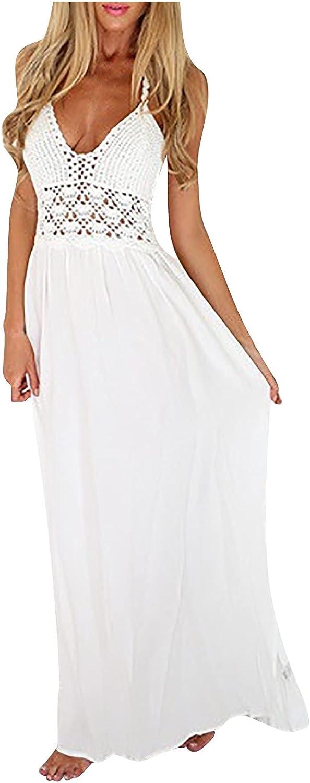 ASCA Summer Dress for Women,Women's Sexy Solid Dress Hollow Out Knitting Halter Sleeveless V-Neck Long Dress