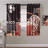 LucaSng Cortinas de Opacas - Cine Palomitas de maíz cámara - 160x160 cm - para Sala Cuarto Comedor Salon Cocina Habitación - 3D Impresión Digital con Ojales Aislamiento Térmico Cortinas