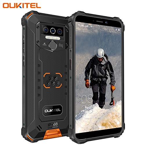 OUKITEL WP5 Pro (2020) Outdoor Smartphone Ohne Vertrag, 4G Dual SIM IP68 Outdoor Handy,8000mAh Akku 4GB 64GB Outdoor Handy,Android 10 Global Version 5,5 Zoll Triple Kamera Face/Fingerprint ID (Orange)