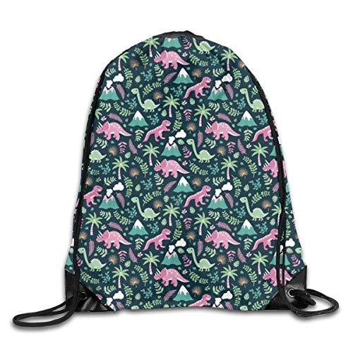 Drawstring Bag Rucksack Drawstring Backpack Colorful Botanical Dino Garden Kids Dinosaurs Design for Picnic Gym Sport Beach Yoga Drawstring Sackpack Bag 36X43CM
