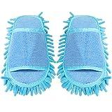 TENDYCOCO 1 Paio di Pantofole in Microfibra Unisex Pantofole per La Pulizia della Casa Pulizia del Pavimento Mop Strumento di Pulizia della Polvere del Pavimento Uomini E Donne (Blu)