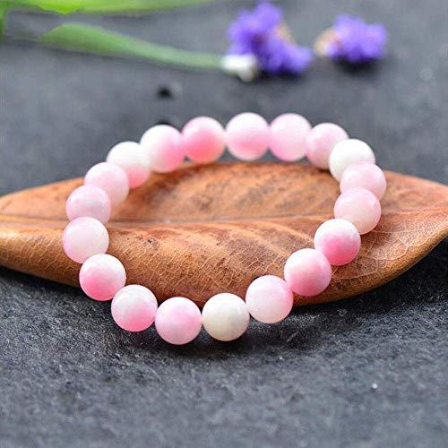 BIJOUX Pulsera con textura rosa claro Pulseras de piedra natural Pulseras elásticas con cuentas Mujeres Hombres Ropa personalizada Ccessories Únete a la fiesta