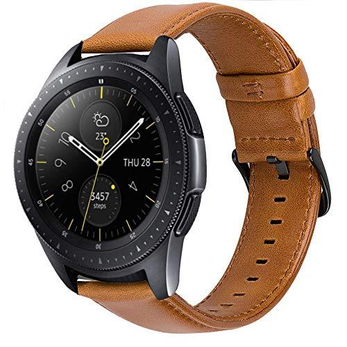 Correas iBazal 20mm Cuero Piel Pulseras Bandas Compatible con Samsung Galaxy Watch 42mm/Active 40mm/Huawei Watch 2/Gear S2 Classic/Sport/Ticwatch 2/E/Amazfit Bip Hombres(Reloj No Incluido) - Marrón