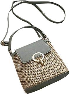 Woven Straw Bag, Handbag Simple Shoulder Bag Portable Bucket Beach Travel beach bag, Lady Casual Woven Bag