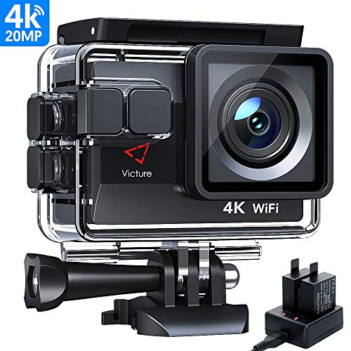 Victure Action Cam 20MP Ultra HD 4K Wi-Fi Impermeabile 40M Immersione Sott'Acqua 170° Grandangolare Camera con Caricabatteria Kit Accessori Due 1050mAh Batterie