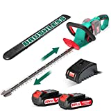 HYCHIKA Brushless 40V Cordless Hedge Trimmer with Battery, 24-Inch Electric Garden Trimmer Combo, Dual Blades 1.0 Inch Cutting Capacity, 2PCS 20V Batteries & Fast Charger Included, Bush Trimmer