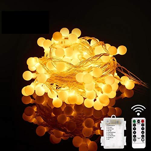 SYTUAM Globe Lichterketten,10M100LED batteriebetriebene, Warmweiß,Fernbedienung mit Timer, Wasserdicht für Innen und Außen Dekoration,Lichterkette für Weihnachten Hochzeit Party Weihnachtsbaum